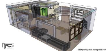 Sala e cozinha integradas
