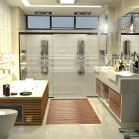 Banho Suíte: o deck na saída do box (neste caso atende também a banheira) é uma tendência. Diferente e moderno, além de decorar, evita acidentes e aquele incômodo tapete molhado.