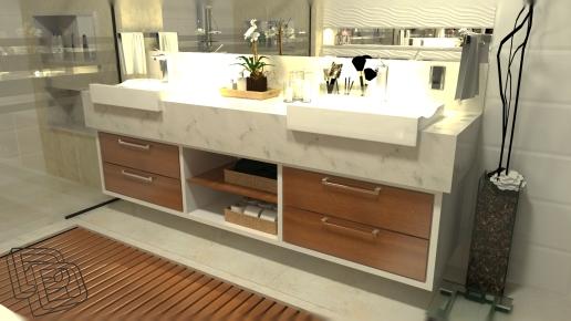 Banho Suíte: detalhes pensados para tornarem o banheiro um ambiente mais funcional e agradável.